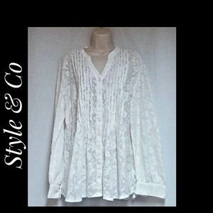 Style & Co White Boho Cotton Blend Lace Top Sz  XL